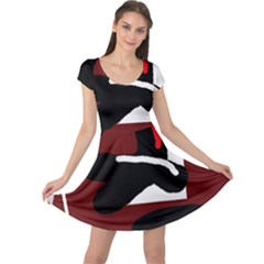 Crazy abstraction Cap Sleeve Dresses