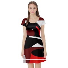 Crazy abstraction Short Sleeve Skater Dress