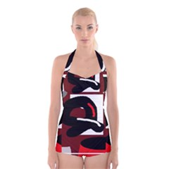 Crazy abstraction Boyleg Halter Swimsuit