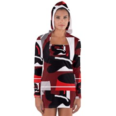 Crazy abstraction Women s Long Sleeve Hooded T-shirt