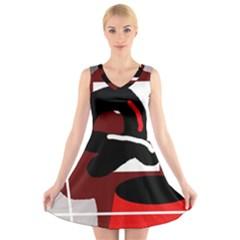 Crazy abstraction V-Neck Sleeveless Skater Dress