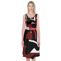 Crazy abstraction Midi Sleeveless Dress