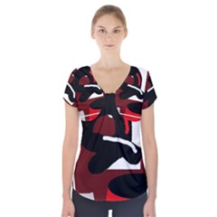 Crazy abstraction Short Sleeve Front Detail Top