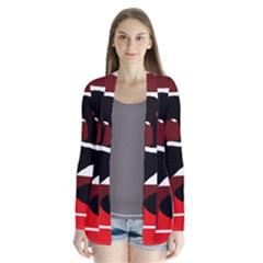 Crazy Abstraction Drape Collar Cardigan