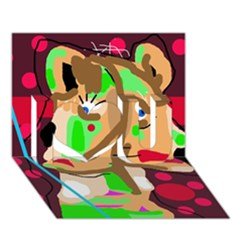 Abstract animal I Love You 3D Greeting Card (7x5)