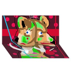 Abstract animal Twin Heart Bottom 3D Greeting Card (8x4)