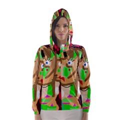 Abstract animal Hooded Wind Breaker (Women)