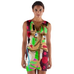 Abstract animal Wrap Front Bodycon Dress