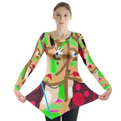 Abstract Animal Long Sleeve Tunic