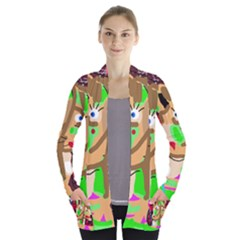 Abstract animal Women s Open Front Pockets Cardigan(P194)
