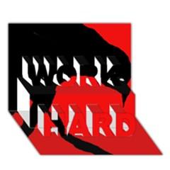 Black raven WORK HARD 3D Greeting Card (7x5)