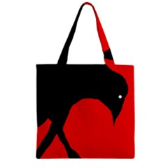 Black raven Zipper Grocery Tote Bag