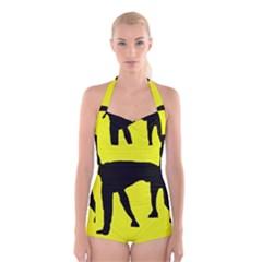 Black dog Boyleg Halter Swimsuit