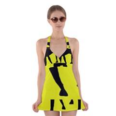 Black dog Halter Swimsuit Dress