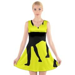 Black dog V-Neck Sleeveless Skater Dress