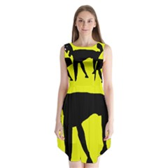 Black dog Sleeveless Chiffon Dress