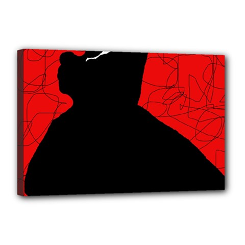Red and black abstract design Canvas 18  x 12