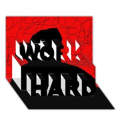 Red and black abstract design WORK HARD 3D Greeting Card (7x5)