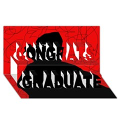 Red And Black Abstract Design Congrats Graduate 3d Greeting Card (8x4)