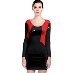 Red and black abstract design Long Sleeve Bodycon Dress
