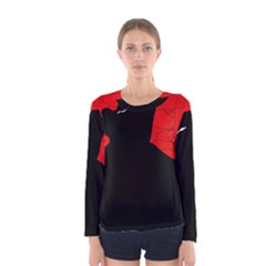 Red and black abstract design Women s Long Sleeve Tee