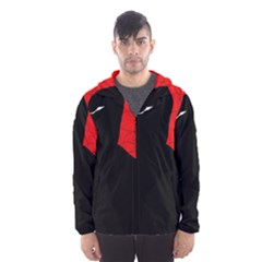 Red and black abstract design Hooded Wind Breaker (Men)