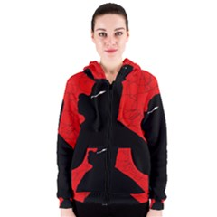 Red and black abstract design Women s Zipper Hoodie