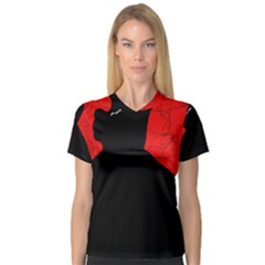 Red and black abstract design Women s V-Neck Sport Mesh Tee