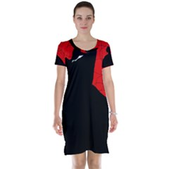 Red and black abstract design Short Sleeve Nightdress