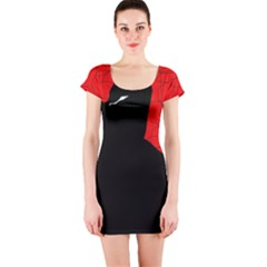 Red and black abstract design Short Sleeve Bodycon Dress