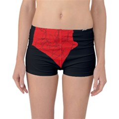 Red and black abstract design Reversible Boyleg Bikini Bottoms