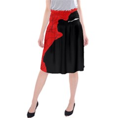 Red and black abstract design Midi Beach Skirt