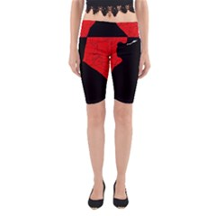 Red and black abstract design Yoga Cropped Leggings