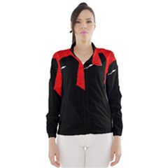 Red and black abstract design Wind Breaker (Women)