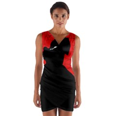 Red and black abstract design Wrap Front Bodycon Dress