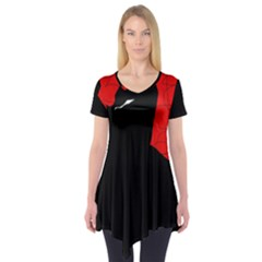 Red and black abstract design Short Sleeve Tunic