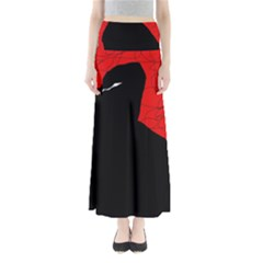 Red and black abstract design Maxi Skirts
