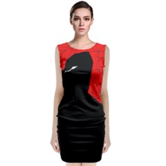 Red And Black Abstract Design Classic Sleeveless Midi Dress