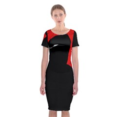 Red And Black Abstract Design Classic Short Sleeve Midi Dress