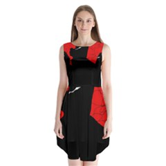 Red And Black Abstract Design Sleeveless Chiffon Dress