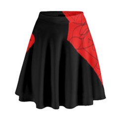 Red and black abstract design High Waist Skirt