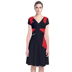 Red and black abstract design Short Sleeve Front Wrap Dress