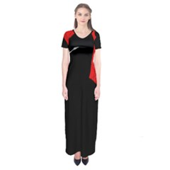 Red and black abstract design Short Sleeve Maxi Dress