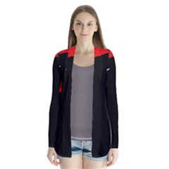 Red and black abstract design Drape Collar Cardigan