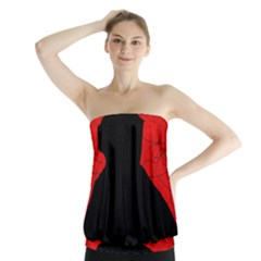 Red And Black Abstract Design Strapless Top