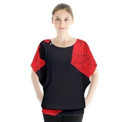 Red and black abstract design Blouse