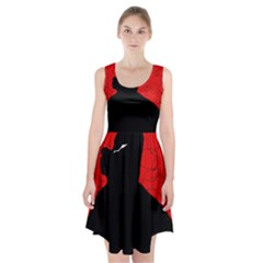 Red and black abstract design Racerback Midi Dress