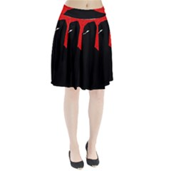 Red and black abstract design Pleated Skirt