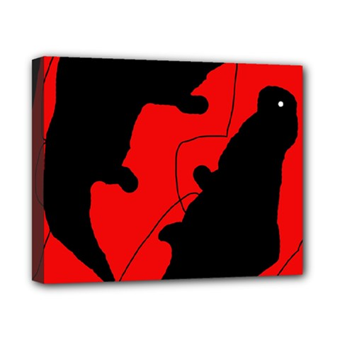 Black and red lizard  Canvas 10  x 8