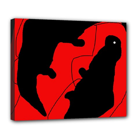 Black and red lizard  Deluxe Canvas 24  x 20